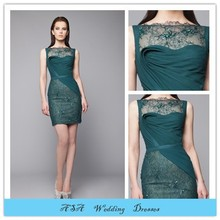 TWE59 Latest Suzhou Green High Collar Beaded Short Lace Layers Evening Dresses for Woman