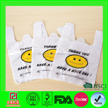 white tshirt reusable plastic bags with logo for packaging/shopping