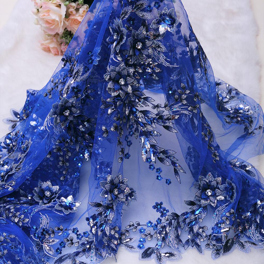 Royal blue luxe voile dentelle avec strass belle suisse - Voile de forcage au metre ...