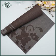 de color marrón claro rectángulo jacquard mantel de pvc vinilo placemat limpie manteles individuales de flores mantel