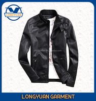 neck round cheap black long sleeve casual pu leather jacket for men