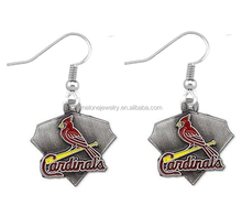 New Alloy St. Louis Cardinals Baseball Charms Earrings Wholesale