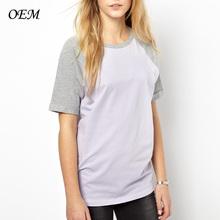 Para mujer 100% contraste de algodón de manga corta de béisbol t- shirt