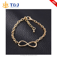 >>>New Fashion Popular Plating Gold Metal Cross Infinite Bracelet & Bangle Charm chain bracelets Jewelry Wholesale For Women