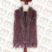 Knit Rabbit Fur Vest with natural raccoon fur collar