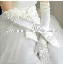 newest graceful and noble white long beaded bridal gloves