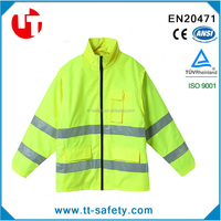 yellow 300D oxford high reflective waterproof reversible safety raincoat jacket