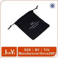 black drawstring velvet gift bag pouch with logo