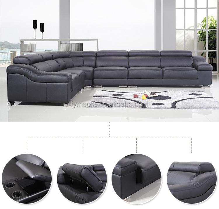 nuovo disegno di cuoio reale 7 posti a forma di l angolo divano ... - Ultimo Disegno Di Divano Ad Angolo