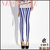 CCL216 2015Gothic Lolita Burlesque Only Steampunk Costume Blue and white leggings Striped Leggings Vertical Striped Legg