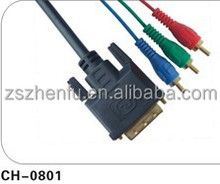 DVI to 3RCA Cable BLACK PVC moulding type reasonable price