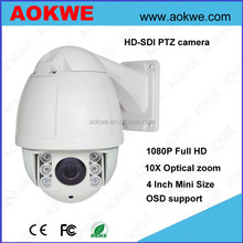 Aokwe 4 inch mini 10x zoom waterproof 50 IR distance high speed dome 1080P full hd-sdi ptz camera