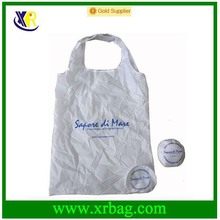Custom white nylon ball shaped foldable shopping bag