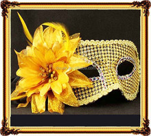Women gold silver PVC ball mask Flat head imitation big feather flower mask