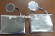 PU nylon/polyester/velet cosmetic bag with mirror