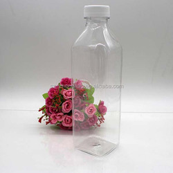 square PET new design plastic bottles for juice 1000ml with tamper proof cap