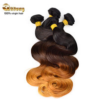 Aliluxy hair top quality 7a grade 100% unprocessed peruvian hair weave, remy virgin ombre body wave hair