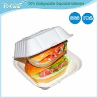 Biodegradable Food packaging products Sugarcane pulp white disposabale food containers