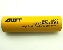 Manufacturer! AWT High Drain 2500mah 18650 3.7v Li-ion Battery moto e mobile