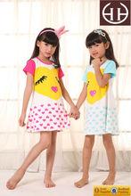 2015 nueva noche falda para las muchachas color de rosa de algodón impresas linda ropa cómoda para niños China