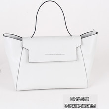 China Elegant leather lady white special design PU leather tote hand bag