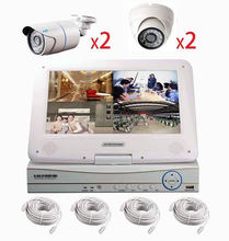 Poe 4 ip cameras and nvr kits ip camera security system 4ch h.264 nvr kit with monitor 4pcs poe cameras pnp onvif cloud