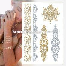 2015 lower back tattoo gold and silver temporary tattoo glow in dark tattoo