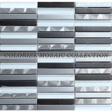 Black white grey stainless steel mosaic tiles for wall tile (MF004)