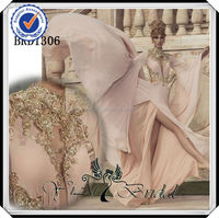 BRD1306 Gold Embroidered Bat Sleeve Chiffon Evening Dress With Sleeves