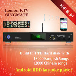 Android Hard Disk karaoke player with HDMI 1080P ,Select songs via iPhone/Android phone ,Over 3TB up to 16TB HDD ,Insert COIN ,