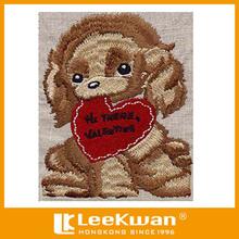 Kaliteli zarif karikatür köpek tasarım/düz nakış tebrik kartı