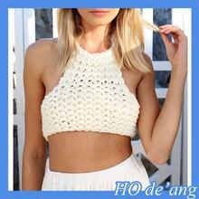 HOGIFT Crochet women bikini top,handmade bikini costume series in summer on the beach