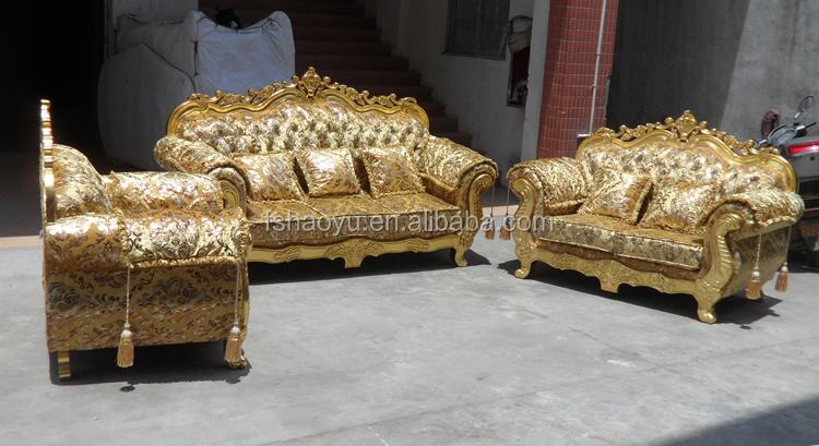 royal living room sofa furniture, golden dubai sofa design(DWL929 ...