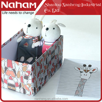 NAHAM 3pcs Giraffe Cardboard Rectangle Folding Paper Box