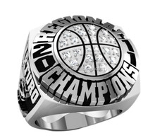 Silver color basketball championship ring with AAA CZs prong set