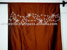 Poly Silk Embroidered Curtain, Flame Retardant