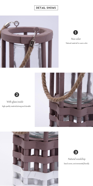 Pas cher extérieure en bois de poche blanc géométrique bougeoir lanterne