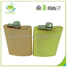 New FDA 8oz Laser Welding Plated Gold Hip Flask