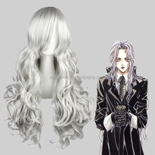 High Quality 80cm Long Wave Angel Sanctuary-Rosiel Silvery Gray Synthetic Anime Wig Cosplay Hair Wig Party Wig