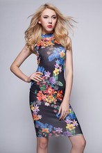 2015 Woman Clothing Sleeveless Fashion Dress Floral Print Online Shopping Ladies Dress Bodycon Sexy Girls Party Dresses