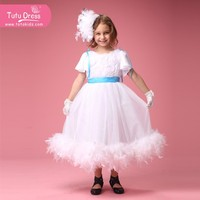 High-grade feathers short sleeves flower girl kids dress for wedding