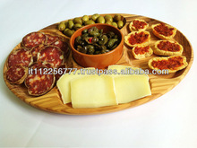 Oval Wooden cutting board and Ceramic Dishes
