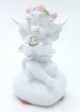 Baby angel held diamond sitting on stone figurines baby angel statue