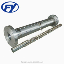 Single rubber extruder screw barrel and twin screw granulator/masterbatch extruder