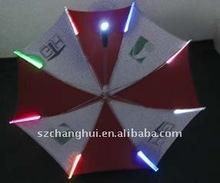 colorful led lights umbrella on ribs and handle