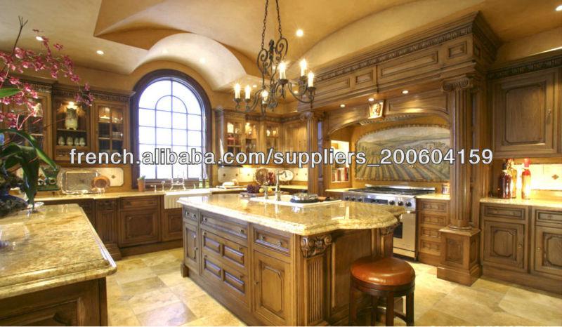 Modele De Cuisine En Bois Massif : de cuisine en bois massif conception DJ-K124-Armoire de cuisine