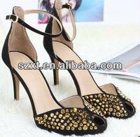 Mature sexy ladies high heel sandal 2014 summer womens fashion rivets high heel sandals
