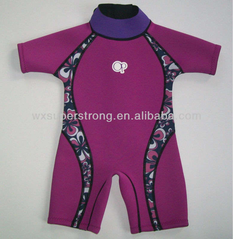 2015 Neoprene Children's Wetsuits for Girls,SCR with nylon coating,Flatlock stitches