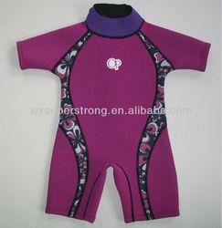 2015 Neoprene Children's Wetsuits for Girls,SCR with nylon coating,Flatlock stitches