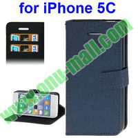 New Arrival Linen Texture Wallet Cover for iPhone 5C Leather Case With Stand (Dark Blue)
